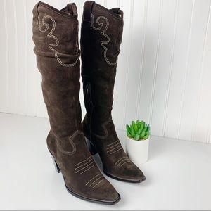 Via Spiga Dark Brown Suede Women Cowboy Boots 7.5